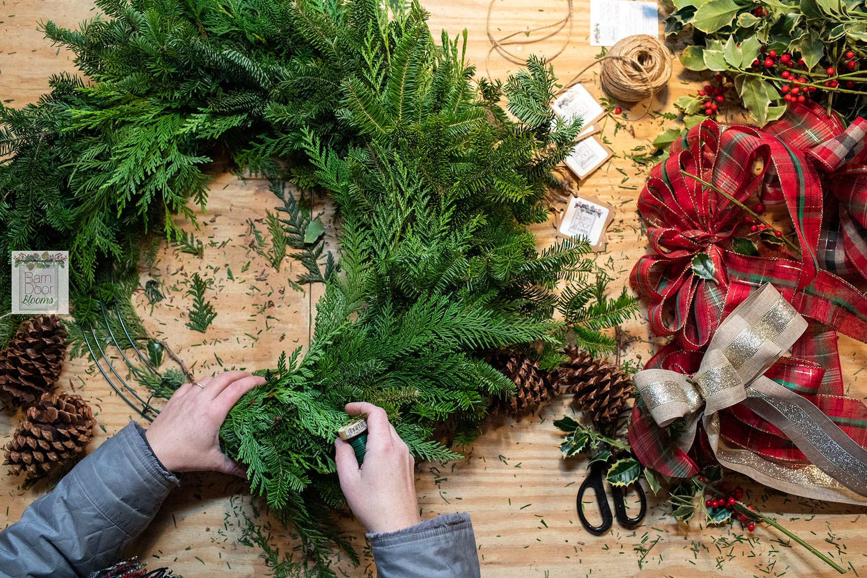 Overhead-view-of-wreath-maker-work-table